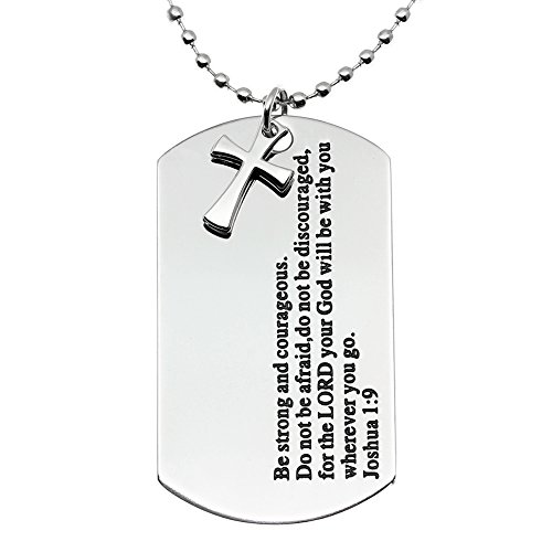 Ms.Clover Be Strong And Courageous Inspirational Dog Tag Necklace, Stainless Steel Encouragement Jewelry Gifts, Christening Joshua 1:9.
