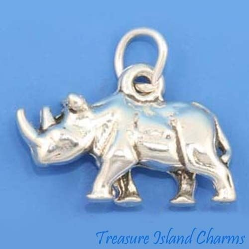 RHINOCEROS RHINO 3D .925 Solid Sterling Silver Charm MADE IN USA Jewelry Making Supply Pendant Bracelet DIY Crafting by Wholesale Charms by Wholesale Charms
