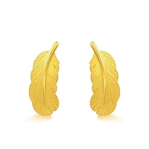 JSGJZB Earring 2 Pairs of Earrings 3D Hard Gold Jewelry Gold Earrings Love Secret Language Feather Stud Earrings Year of Life Euro Coins Sand Gold Earrings