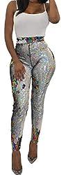 Colorful Rainbow Sequin Mesh Pencil Pants