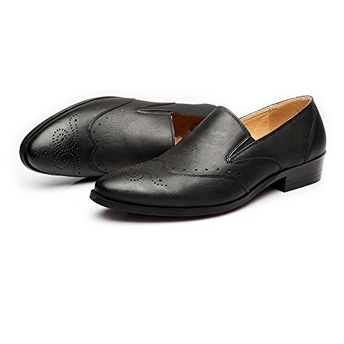 Leather Shoes, Men's Low Top Business Shoes Matte Breathable Hollow Carving PU Leather Slip-on Lined Oxfords Black