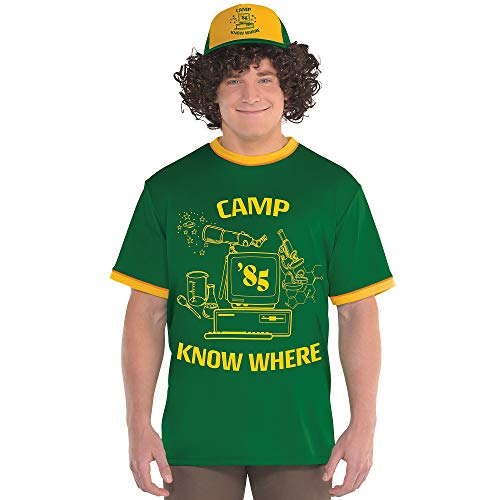 Party City Stranger Things Dustin T-Shirt for Adults, Size Large/Extra-Large, with Ringer Styling and Camp Know Where ()