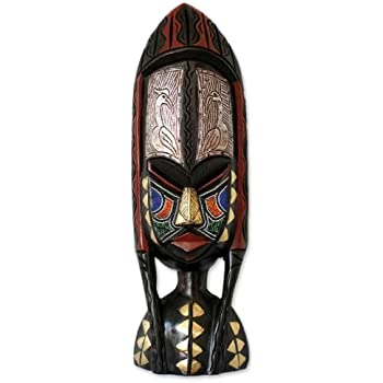 "NOVICA 171651"" Shower of Blessings Ghanaian Wood Mask"
