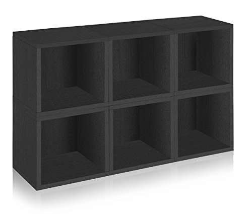 Way Basics Eco Stackable Modular Storage Cubes (Set of 6), Black (made from sustainable non-toxic zBoard paperboard) by Way Basics