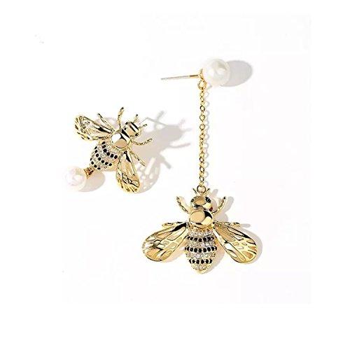 Asymmetrical Fashion Little Bees & Artificial Pearl Drop Dangle Earrings Temperament Earrings