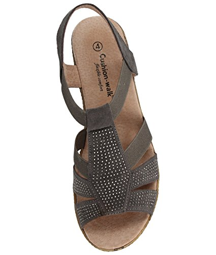 Ladies Cushion Walk Wide E Fit Leather Lined Wedge Peep Toe Strappy Summer Sandal Size 3-8 A85 Grey GxAlcqqhO2