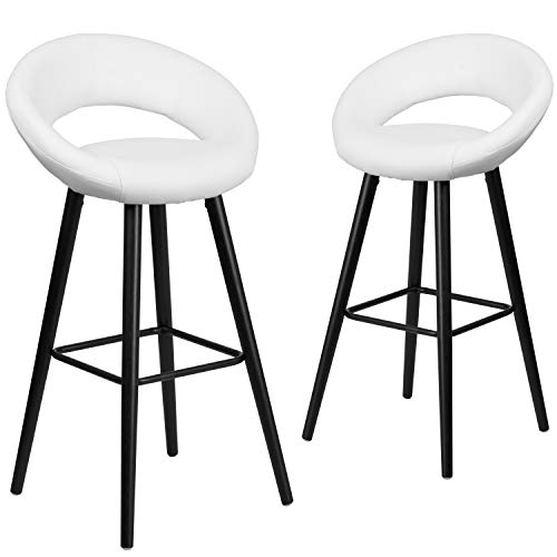 Flash Furniture 2 Pk. Kelsey Series 29'' High Contemporary Cappuccino Wood Barstool in White Vinyl