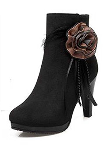Chfso Womens Fashion Solid Suede Round Toe Floral Zipper Chunky High Heel Platform Ankle Boots Black 7 B M  Us