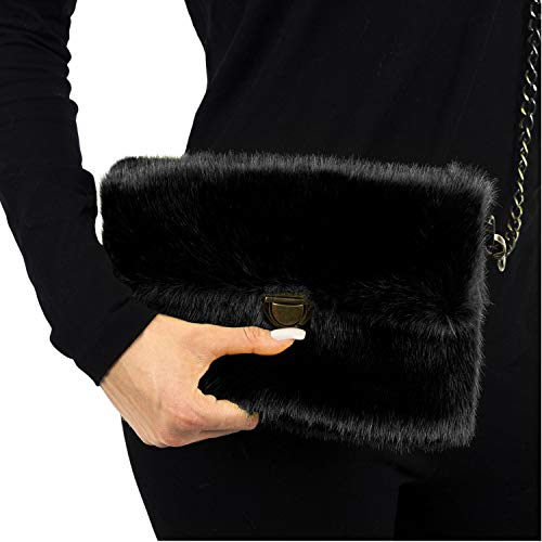 Bag Shoulder TOSKATOK Chainstrap Over Bold Plain Ladies Girls Fluffy with Stylish Faux Fur Removable Clutch Black Womens Bright xw1pqOPx