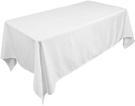 Amazon Com Tektrum 70 X 104 Inch 70 X104 Rectangular Polyester Tablecloth Thick Heavy Duty Durable Fabric White Home Kitchen