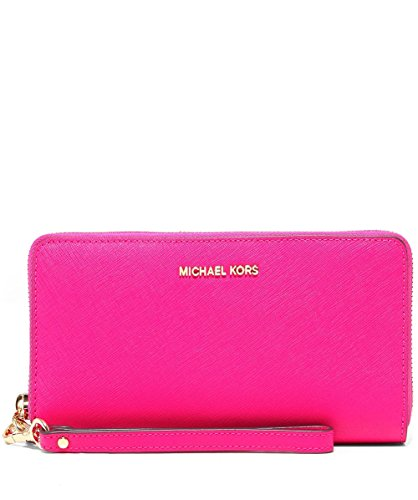 Michael Kors Jet Set Continental Multifunction Phone Wallet Wristlet, Ultra - Pink Kors Michael