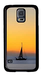 Rugged Samsung Galaxy S5 Case and Cover - Wind Sail Boat Ocean Sunset Ios Custom Design PC Case Cover for Samsung Galaxy S5 - Black