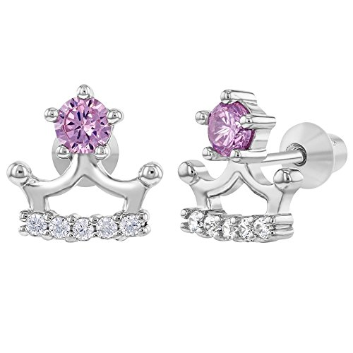925 Sterling Silver Clear Pink CZ Princess Crown Screw Back Earrings Girls Toddlers