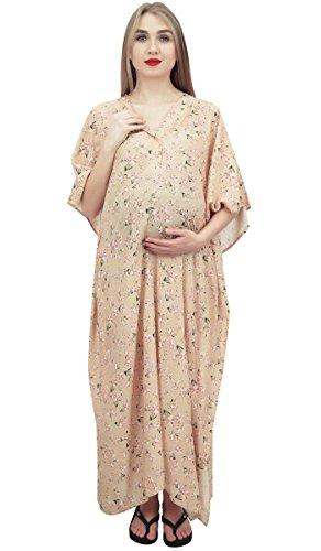 Kimono Maternity Maxi Bimba Floral Chiaro Sleeve Dress Beige Print Moms Kaftan 1gqg4Ow