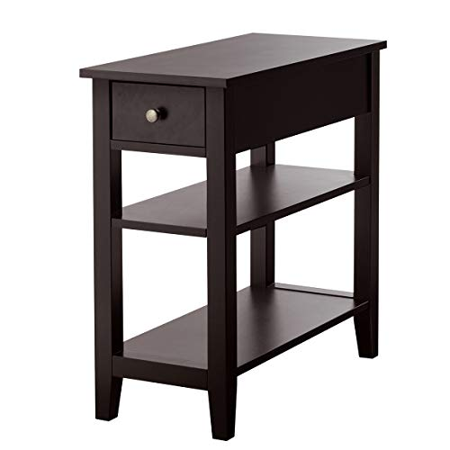Giantex 3-Tier End Table with Drawer and Double Shelves Narrow Tiered Side Table for Bedroom, Living Room Home & Office Telephone Table Nightstand (1, Dark Brown)