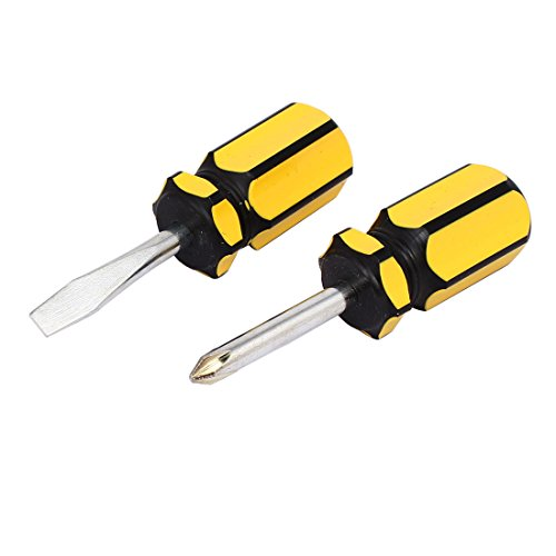 Uxcell a16101400ux0731 6mm Tip Plastic Handle Phillips Slotted Screwdrivers Hand Tool Yellow Black 2 in 1