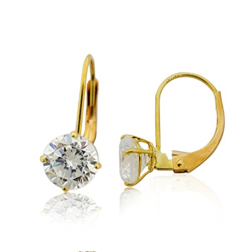 10KT Leverback Basket Round CZ Earrings (10KT Yellow-Gold, 7 Millimeters)