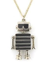Cute Gold Tone Black Glasses Robot Pendant Necklace