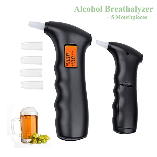 Alcohol Breathalyzer Tester Professional Digital Breath Alcohol Detector LCD Display Alcohol Tester Portable Breathalyzer Detector for Safety Driving (Alcohol Tester)