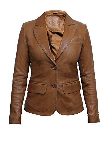 Brandslock Ladies Womens Tan Slim Fit Leather Biker Blazer Jacket Designer Look Coat (14, Tan)