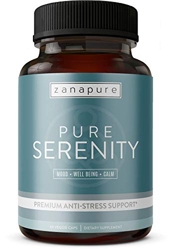 PURE SERENITY Premium Anxiety Relief & Stress Support Supplement -Pharmaceutical Grade All Natural Calmness, Positive Mood & Relaxation Support - 5 htp, Ashwagandha, L-Theanine, Rhodiola, Bacopa (Best Way To Cope With Opiate Withdrawal)