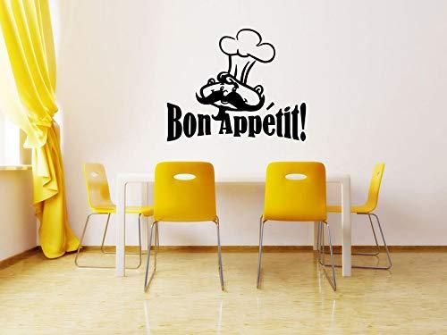 Wall Sticker Bon Appetit Moustache Man Kitchen Quote