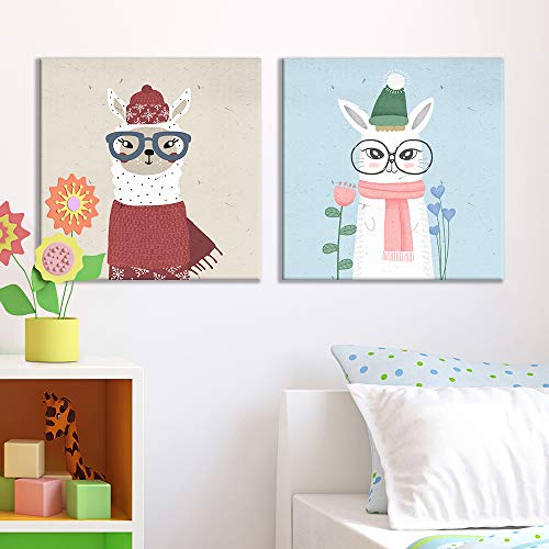 Square of Children Painting White Lamb Bunny Dressed in Winter Clothes Children Painting x 2 Panels