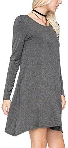 Women's Plain Cute Simple Tshirt Dress L DarkGrey