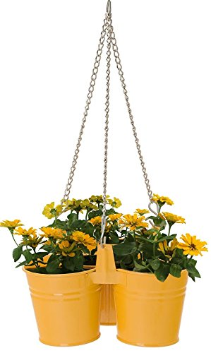 Houston International 8116E SAFF Steel Small Triple Hanging Planter, Saffron