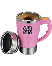 TsunNee 320ML elektrische zelfroerende koffiemok, roestvrij staal auto magnetische mok, auto mengen beker voor koffie thee warme chocolade melk cacao eiwit, roze
