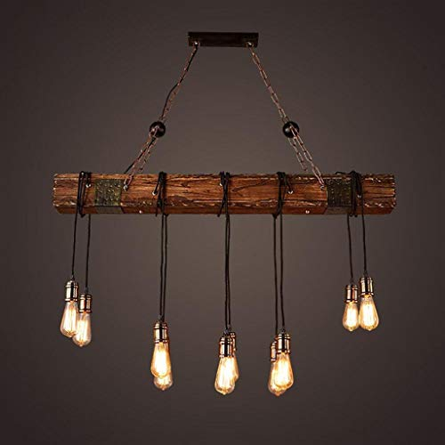 Rustic Wood Beam Edison Hanging Ceiling Light ,Natural Reclaimed Wooden Style Pendant Lighting E26x10 Lights Retro Industrial Style Chandeliers for Bar Kitchen Dining Room by Eoyemin (Image #2)
