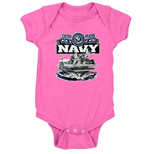 R12 Air (Royal Lion Infant Bodysuit Dark US Navy Aircraft Carrier and Jets - Raspberry, 6 to 12 Months)