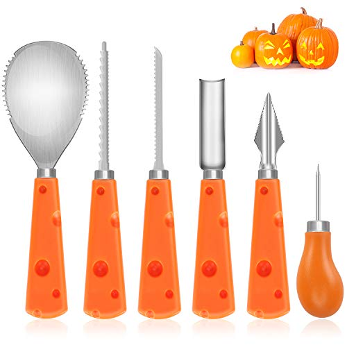 Dafunna Pumpkin Carving Kit, Halloween Pumpkin Tools Set Stainless Steel Reusable Sturdy Sculpting Set for Kids Pack of 6