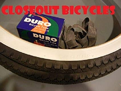 Two New 24 X 2.125 Duro slick tread white wall tires with tubes rim strips