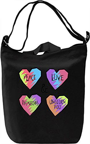 Peace Love Rainbows And Poo Borsa Giornaliera Canvas Canvas Day Bag| 100% Premium Cotton Canvas| DTG Printing|