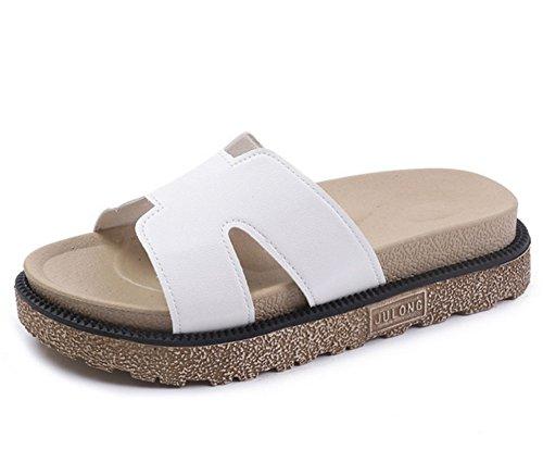 fondo sandalias gruesa de con bizcocho mujeres plano de de playa KUKI 1 suela usan Xqw0txH