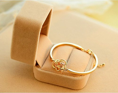 Women's Crystal Rose Flower Bangle Cuff Bracelet Jewelry Gold Crystal Weave Bracelet