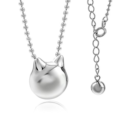 JEWME 925 Sterling Silver Women Kitty Cat Chain Pendant Necklace Hollow Bell - Hollow Bell
