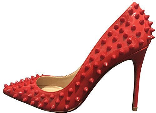 Pan High Spike Kaitlyn Heel All Pumps Red Leather Red All Stiletto Genuine XSRnARH