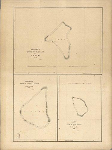 Chart Map, (Fakaofo), (Nukunonu Atoll), Oatafu or Duke of York Island, Tokelau. 1841   Historic Antique Vintage Map Reprint