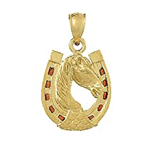 14k Yellow Gold Horse Head In Horseshoe Charm Pendant with Brown Stained Glass Enamel