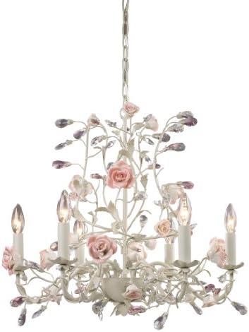 Elk 6-Light Porcelain Roses Chandelier, Cream