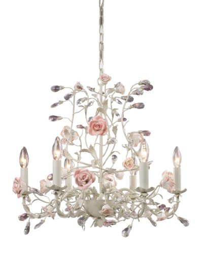 Rose Chandelier - Elk 6-Light Porcelain Roses Chandelier, Cream