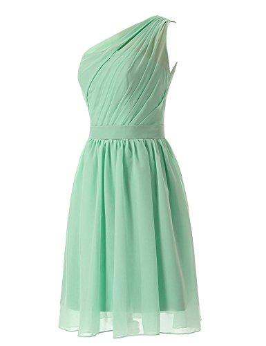 Olidress Short Chiffon Bridesmaid Dress Shoulder Simple Blush One Women's rqOxTfwr
