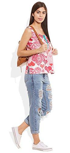 Damen Baumwolle Gedruckt Kurz Top Kurti Ärmel mit Kontrastleiste und Buttons