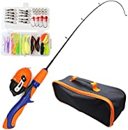 4Pcs Kids Fishing Pole, Fishing Rod Combo Set,Telescopic Portable Kids Fishing Rod Kit,Fishing Gears Travel Ba