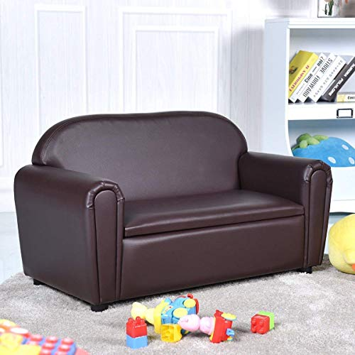 Brown Kids Bedroom Furniture - Costzon Kids Sofa, Upholstered Couch, Sturdy Wood Construction, Armrest Chair for Preschool Children, Couch with Storage Box (Double Seat)