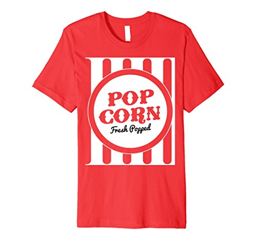 Mens Old Fashion Popcorn Costume T-Shirt Halloween Trick Or Treat Large Red ()