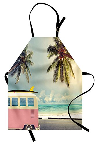Ambesonne Surf Apron, Minivan on The Beach Retro Inspired Vacation Clouds in Summer Sky Honeymoon Destination, Unisex Kitchen Bib Apron with Adjustable Neck for Cooking Baking Gardening, Multi ()