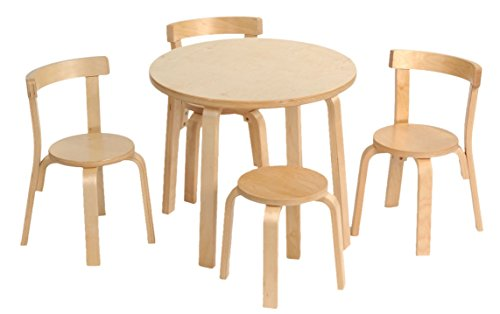 Kids Table and Chair Set – Svan Play with Me Toddler Table Set with 3 Chairs and Stool – 100% Wood (Natural)